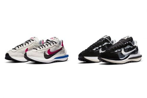 """Official Images of the sacai x Nike Vaporwaffle in """"White/Red/Blue"""" and """"Black/White"""""""