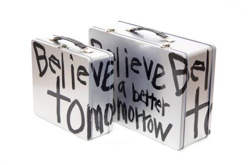 "COMME des GARÇONS Releases Handwritten ""BELIEVE IN A BETTER TOMORROW"" Tin Trunks"