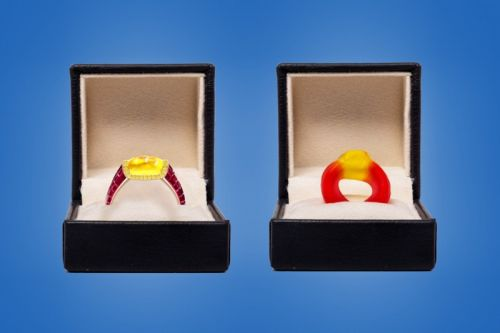 Taylor & Hart Turn the Haribo Candy Into An Actual Cabochon Diamond Ruby Ring