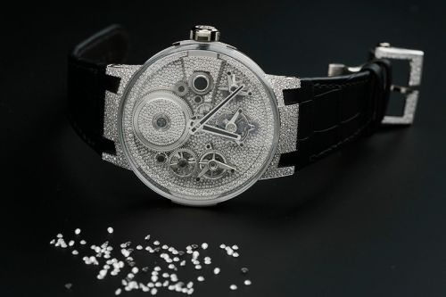 Snow Falls With Diamond-Set Ulysse Nardin Sparkling Free Wheel