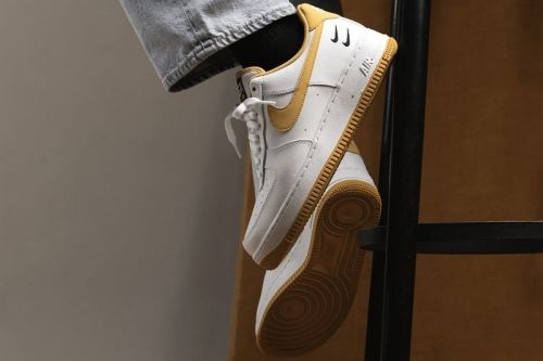 "Nike's Air Force 1 ""White/Light Ginger/Black"" Doubles up on Swooshes"