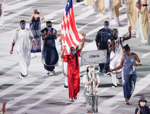 Telfar joins the Liberian team at the Olympic opening ceremony
