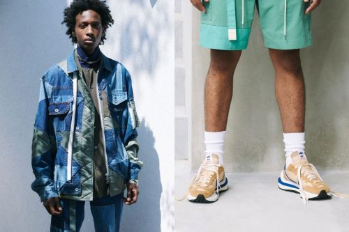 Sacai SS21 Pieces Together Patchwork Outerwear and Layered Nike Sneakers
